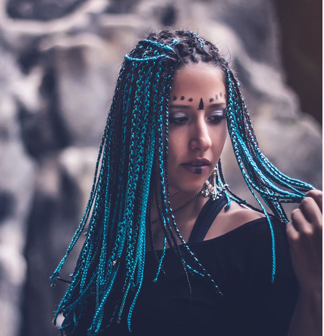 Blue magic braids